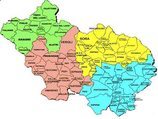 Cartina del lazio con tutti i comuni pieterduisenberg for Mobili frosinone e provincia
